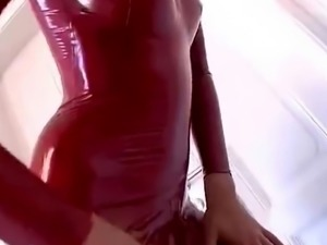 sexy red latex catsuit