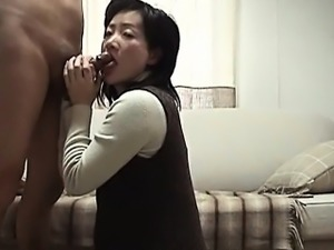 Japanese mature licking cock and butt