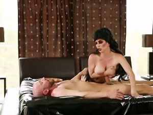 Big boobed brunette lady pleasures lucky man with steamy deep throat after...