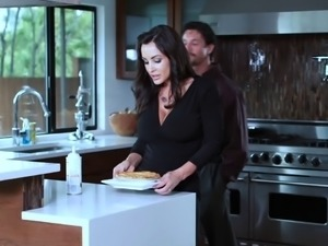 Sexy MILF Lisa Ann gets hammered hard in the kitchen
