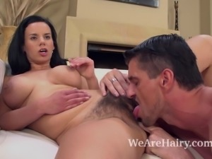 Hairy Winnie gets a hard cock stuffed in her hairy pussy