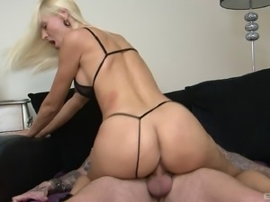Horny tattooed guy gives the sexy blonde his fully-erected dong