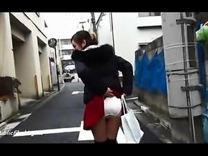 Asian slut pantie flash in public streets