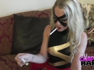 Seductive cosplay chick Xena Wilkes masturbates while smoking a cigarette