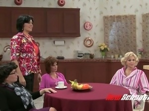 Hungry for cock mature housewives drooling over handsome dude