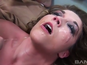 Dark haired wild slut Casey Stone gets her mouth stretched with thick hard...