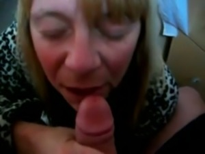 Wrinkled mature blond haired neighbor gave me blowjob on my cam