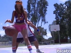 Sporty cutie with curves fucked hard by big cock Ron Jeremy