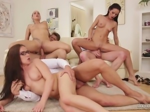 Raunchy chicks get banged hard and receive cumshots in group sex