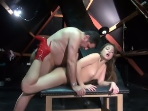 Sweet dark haired fuck doll in red ankle boots gets doggy banged tough