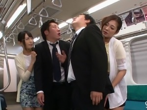 Hardcore foursome on the subway train with Asian sluts