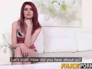 Slender redhead teen Anne Swix enjoys her casting adventure