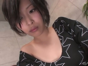 Sexy Asian chick Kelly greedily sucks dude's hard dick