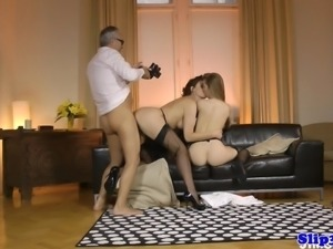 Eurobabe nurse fucks mature couple