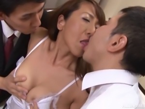 Saggy boobs Japanese milf shared and spit roasted by guys