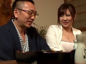 Chubby Japanese milf offers up her pussy for his pleasure
