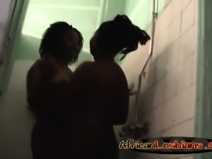 African lesbians Nelly & Natasha turn on during shower