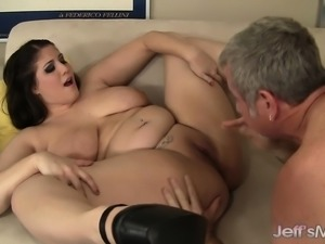 Hot plumper with huge tits embarks on a wild adventure with a hung guy