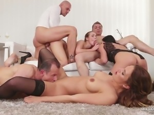 Alexis Crystal and her nasty friends banged hard in group sex