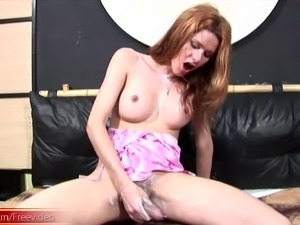 Heavenly shemale fondling her tits as she strokes her dong