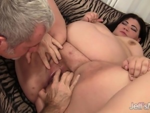 Chubby brunette with huge breasts gets her fiery anal hole banged hard
