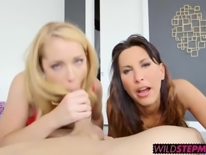 Pretty Raylin enjoys a tasty threesome with Lezley Zen