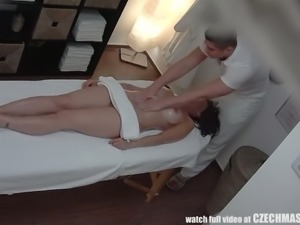 Beautiful and busty milf gets horny for young masseur