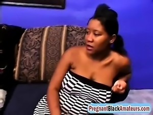 Pregnant Ebony Whore Enjoys Hardcore Threesome