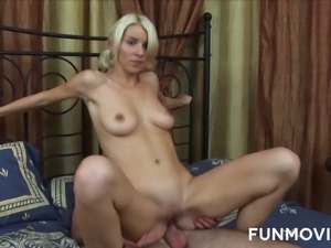Blond chick takes off cute white panties and dude fucks her worn out cunt
