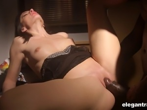 Monstrous black cock pushes slowly into her white pussy