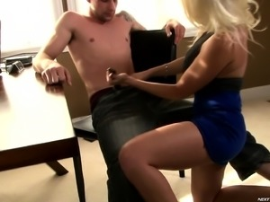 Sexy blonde secretary gives her boss head and her pussy to fuck