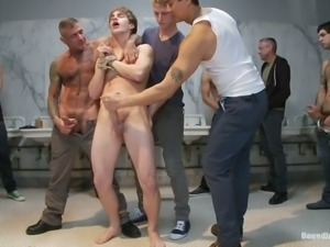 Skinny Cliff Jensen gets bounded and gangbanged by gays