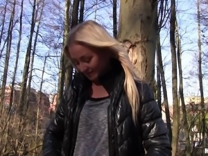 Cutest Euro babe takes the money and gets banged in the woods