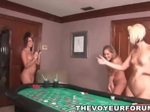 Group of hot amateur babes playing strip poker