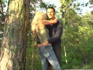 Jeans-clad blonde with beautiful natural tits enjoying a hardcore fuck in a...