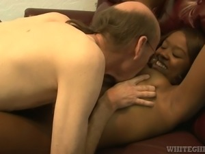 Chocolate hottie Christie Sweet gets pleased by horny white grandpa