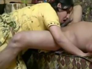 Cock hungry bhabhi babe in yellow dress licks and sucks dick