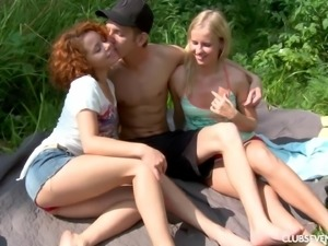 Seriously lucky guy fucking two slutty teens outdoors