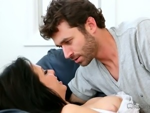 Depraved housewife with mad curves gets wild with two big dicks