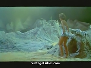 Woman Astronaut Stripteases on the Moon (1960s Vintage)