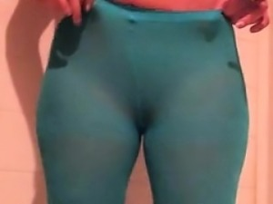 Pissing in tights that are teal