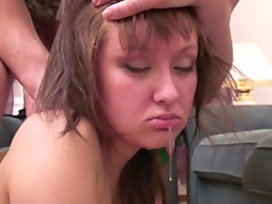 Drunk Whore Gets Cum All Over Her Sweet Looking Face