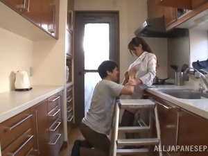 Dashing Japanese babe with a nice ass gets her pussy fingered then screwed...