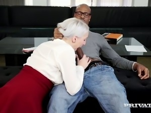 Horny blond GF Liz Rainbow sucks meaty cock of her black 4 eyed man ardently