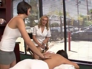 Two horny babes have hardcore fuck with blonde masseuse