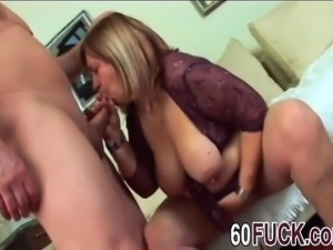 Chubby bbw granny Dominika suck and fuck long dong