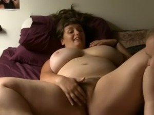My bosomy brunette wife gets satisfied with my tongue and fingers