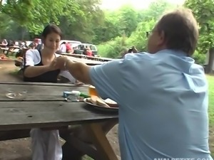Horny waitress seduces an old man and gets drilled outdoors