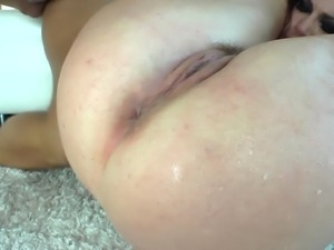 Sexy redhead gets facial cumshot after hardcore fucking