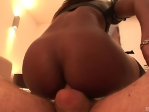 Gorgeous ebony-skinned cougar with big tits enjoying a hardcore interracial fuck